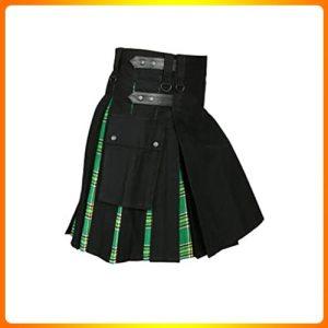 Mens-Hybrid Utility Kilt Black & IrishTartan