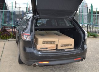 Boxes in a car boot