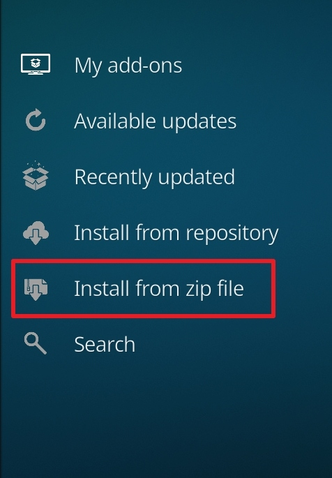 click on install from zip file