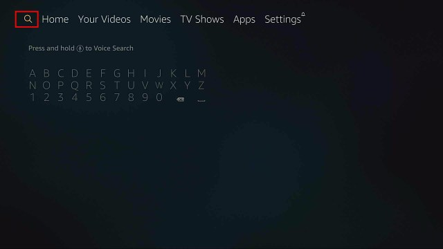 firestick search screen