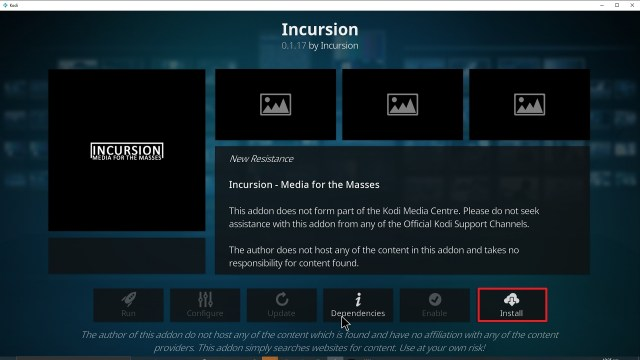 Step 23 Installing Incursion addon on Kodi