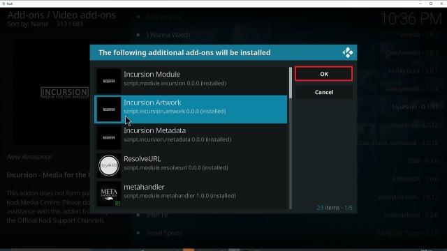 Step 24 Installing Incursion addon on Kodi