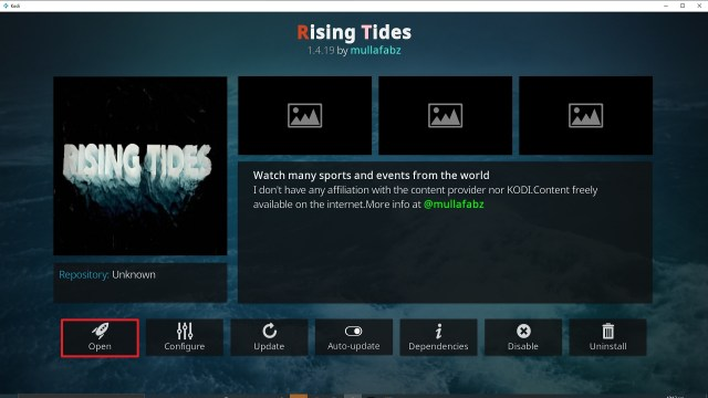 Step 26 Installing Rising Tides addon on Kodi