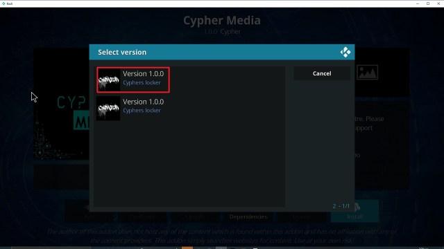Step 24 Installing Cypher Media Kodi addon on Kodi