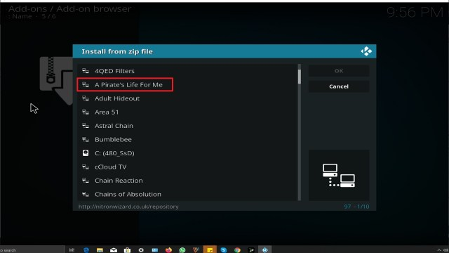 Step 17 Installing A Pirate's Life For Me addon on Kodi