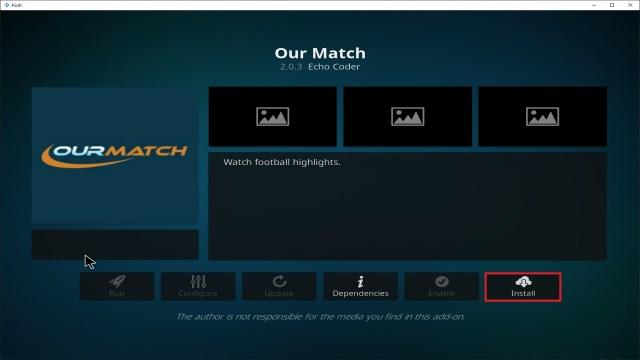 Step 23 Installing Our Match addon on Kodi