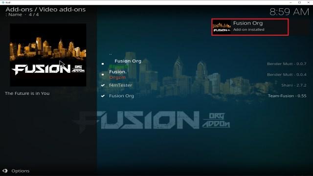 Step 25 Installing Fusion Org addon on Kodi