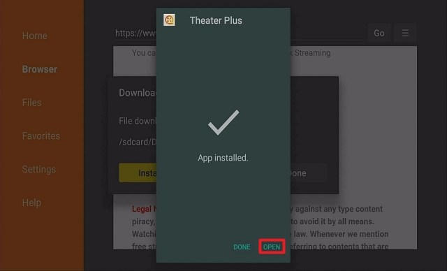 Step 15 Install Theater Plus APK on Firestick