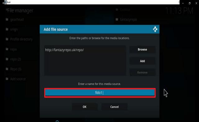 Step 12 Install fido kodi addon