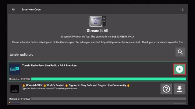 Step 20 Install TuneIn Radio Pro