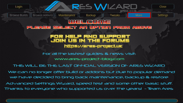 Install Ares Wizard and Reset Kodi By Default Step 15