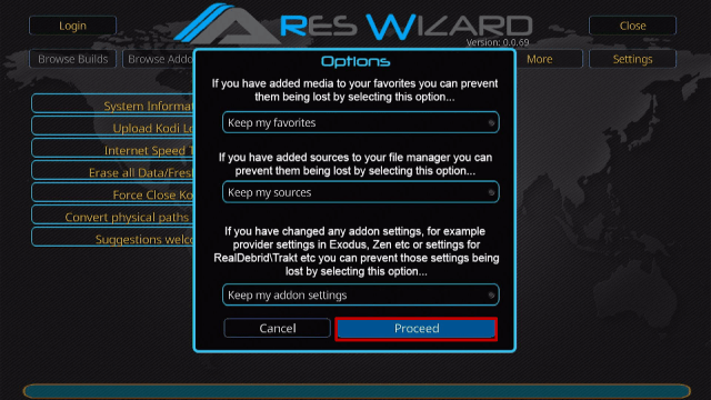 Install Ares Wizard and Reset Kodi By Default Step 18