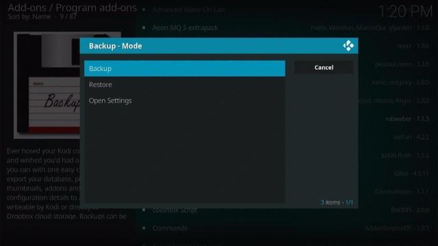 Install the Backup Kodi Addon Step 10