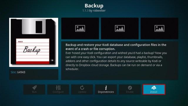 Install the Backup Kodi Addon Step 6