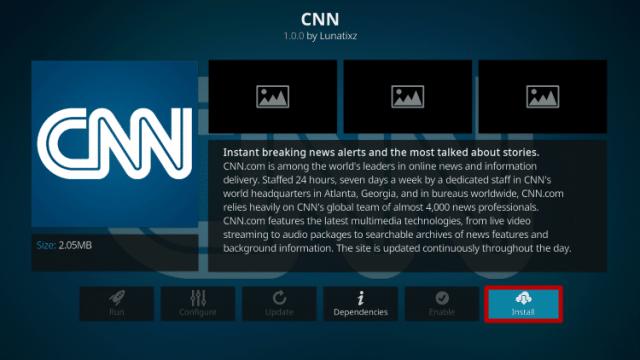 Install the CNN Kodi Addon Step 6