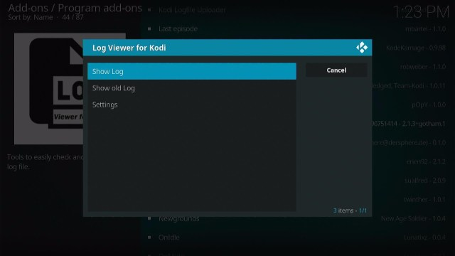Install the Log Viewer for Kodi Step 10