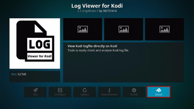 Install the Log Viewer for Kodi Step 6