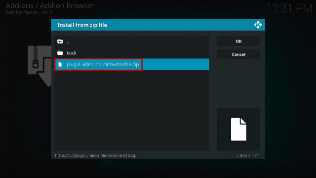 Step 13 Install No Limits Magic Kodi Build