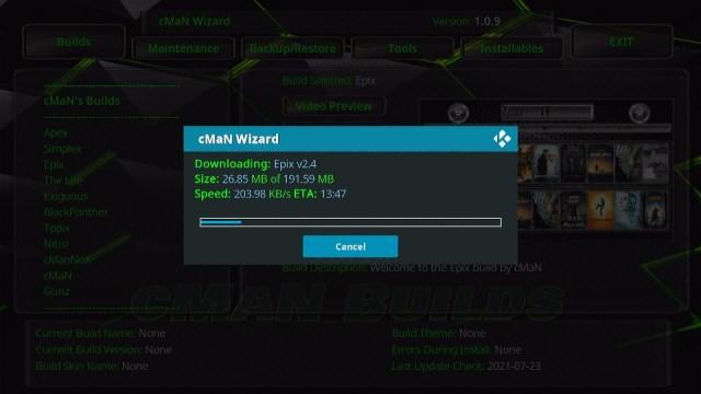 Install Epix Kodi Build 26
