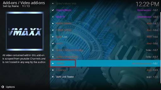 Install VMAXX Kodi Addon 18