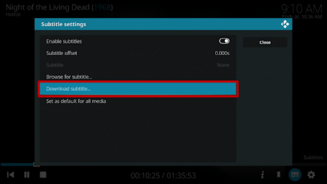 Play a Movie or TV Show and Download a Subtitle 3