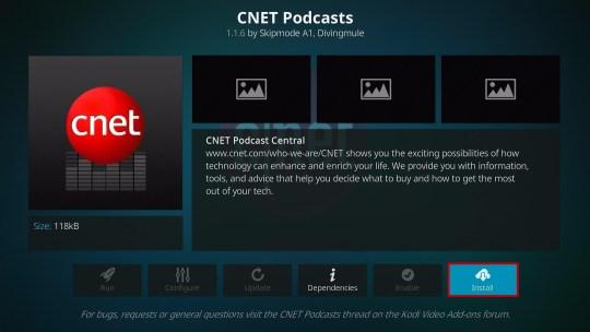 Install CNET Podcasts Kodi Addon 6