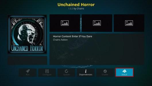 Install Unchained Horror Kodi Addon 19