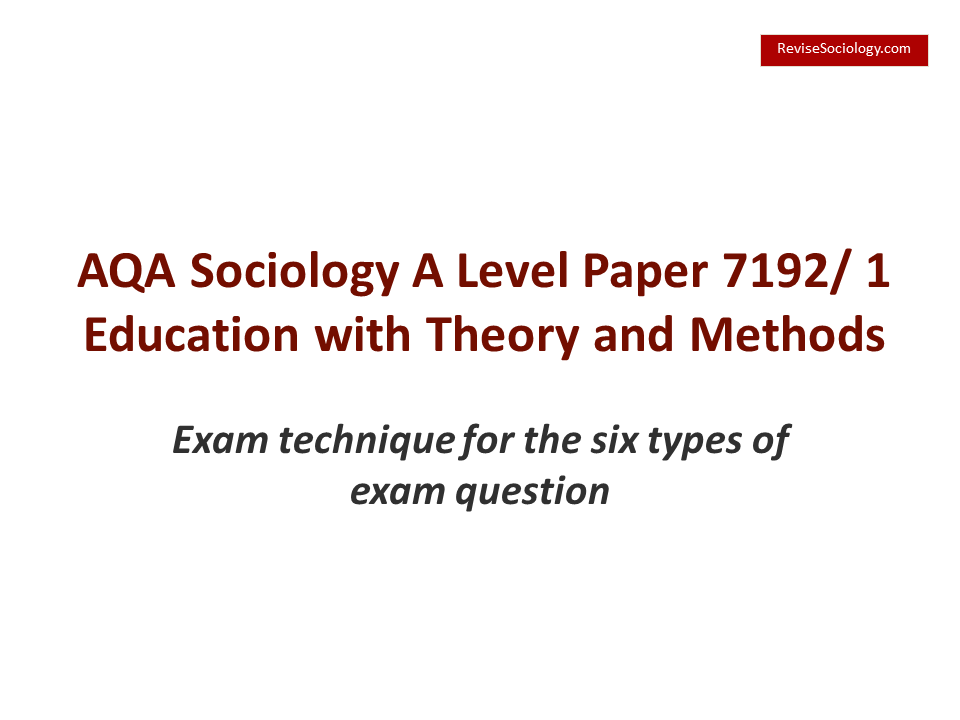 AQA A-Level Sociology Exam Hints and Tips – Video on how to answer the 6 questions on the education with theory and methods paper (7191/2)