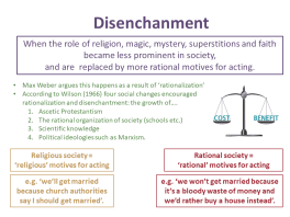 Theories of Secularization: Rationalization and the Disenchantment of Society