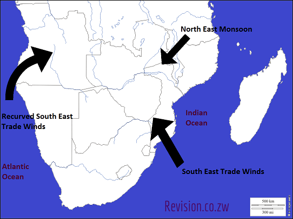 A map showing the major winds of Southern Africa