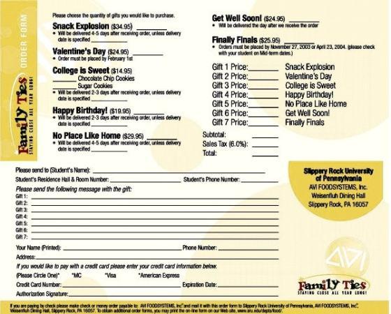 An Order form. Image credit sru.edu