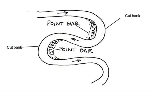 Point bars and cut banks