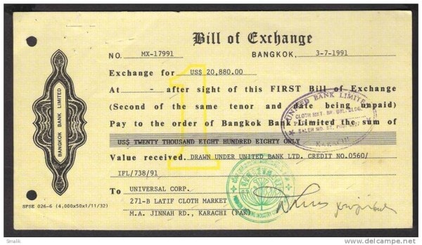A bill of exchange. Image credit delcampe.net