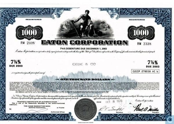 Debenture certificate. Image credit catawiki.com