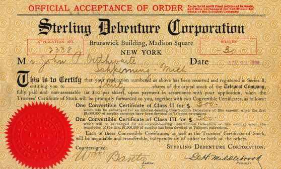 A debenture certificate. Image credit scripophily.net