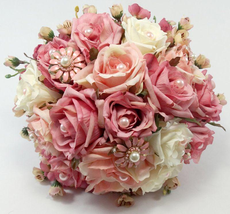 Buquê de noiva artificial rosa vintage com mini rosas