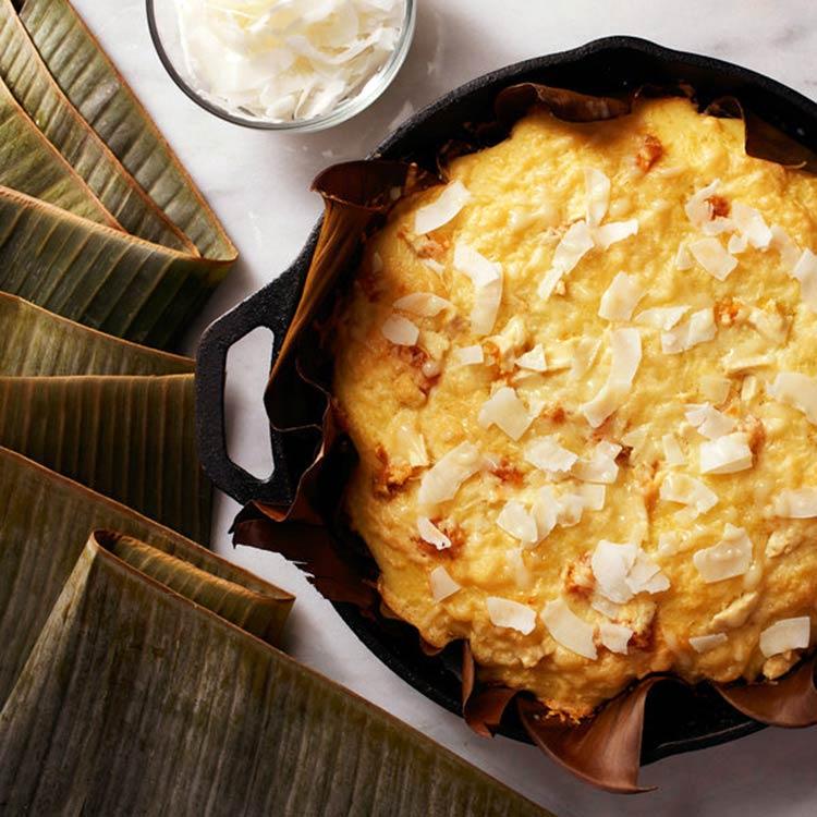 Pastel navideño de arroz y coco