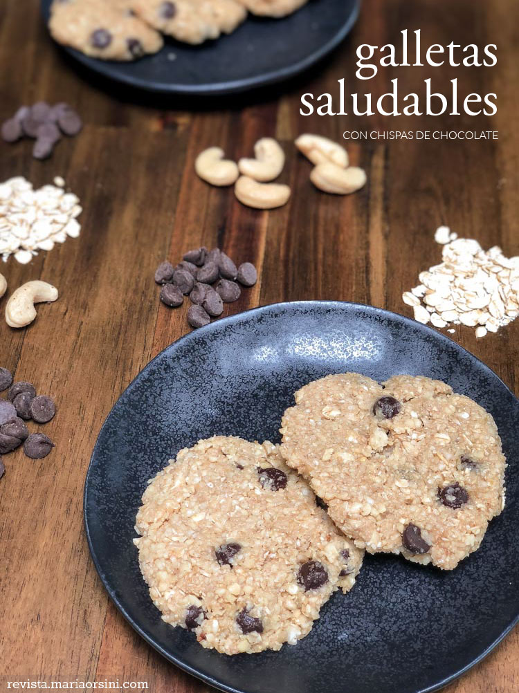 Galletas saludables de chispas de chocolate, receta en revista Maria Orsini | Dairy free, sugar free healthy cookies