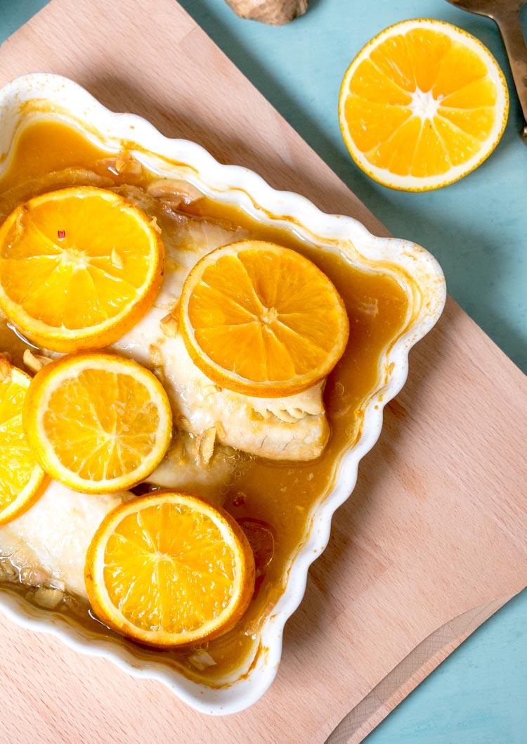 Receta de pescado a la naranja con jengibre y miel en revista Maria Orsini
