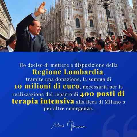 Silvio Berlusconi donează 10 milioane de euro pentru Lombardia 2
