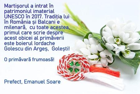 Felicitare- Emanuel Soare, Prefect al Județului Argeș