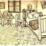 Boceto de la habitación incluido en una carta a Theo
