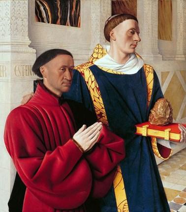 Étienne Chevalier y san Esteban Hacia 1450 Jean Fouquet Óleo sobre tabla, 93 x 85 cm Gemäldegalerie, Berlín