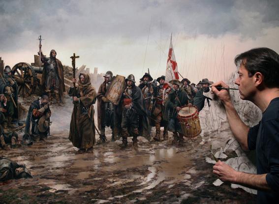 Augusto Ferrer-Dalmau pintando El milago de Empel, 2015l