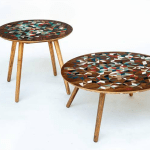 Mesa auxiliar y mesa de centro por Los Makers- producción ubicua en el Bogotá Design Festival, 2015.