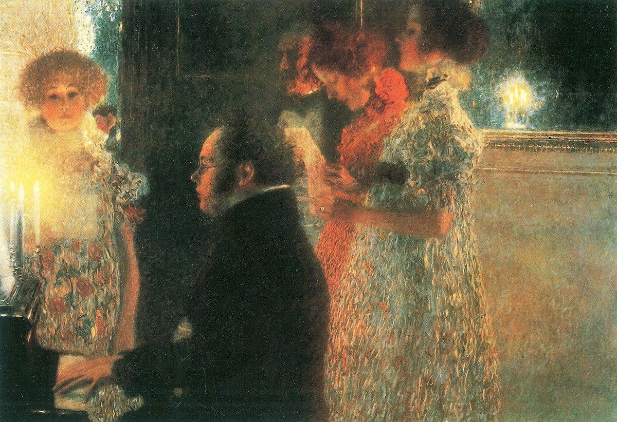 Schubert de novo à luz de velas, agora retratado por Gustav Klimt: pintor tira partido da dramaticidade da luz instável da chama