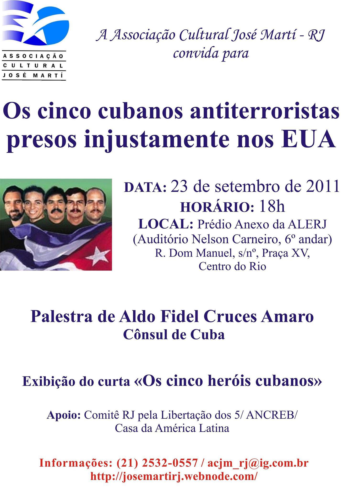 Palestra de Cônsul de Cuba e exibição de curta sobre cinco cubanos (RJ)
