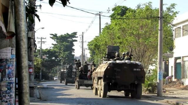 Soldados que serviram no Haiti compõem a Força de pacificação que ocupou as favelas da Maré entre 31 de março de 2014 a 30 de junho de 2015. Foto: Miriane Peregrino