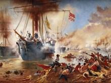 Cópia do original de Vitor Meirelles: a Batalha Naval do Riachuelo. Dim. 2,00m x 1,15m. Autor: Oscar Pereira da Silva (1867-1939).