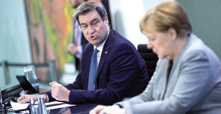 Ángela Merkel y Marcus Söder